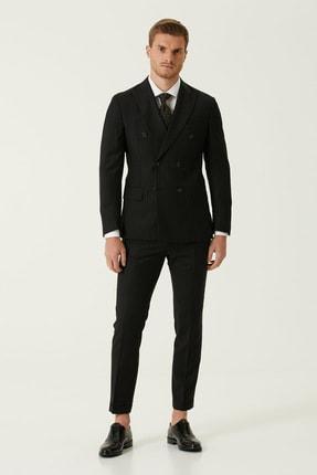 Network Erkek Drop 6 Slim Fit Siyah Çizgili Yün Takım Elbise 1079035