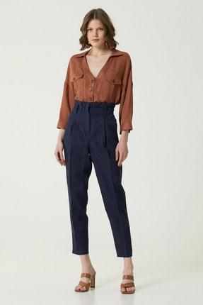 Network Kadın Regular Fit Lacivert Beli Büzgülü Pantolon 1079095