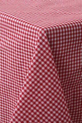 Softest Piti Kareli Kırmızı Masa Örtüsü Pamuk 170x170 cm