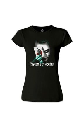 Lord T-Shirt Kadın Siyah Joker - Cards T-Shirt