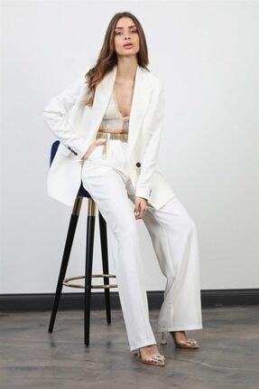 Jojua Kadın Beyaz Palazzo Ceket Pantolon Takım