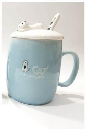 Köstebek Renkli Kapaklı Kaşıklı Kedi Kupa Mavi