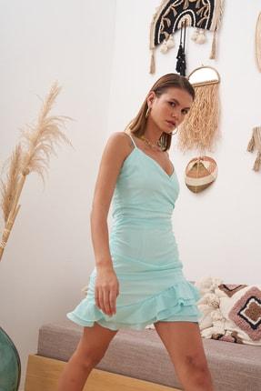 Eka Kadın Mint Büzgü Ve Fırfır Detaylı Ip Askılı Elbise 0990-21053