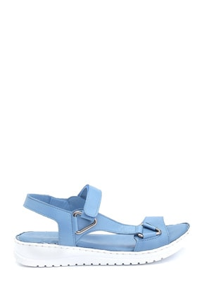 Derimod Kadın Mavi Comfort Deri Sandalet