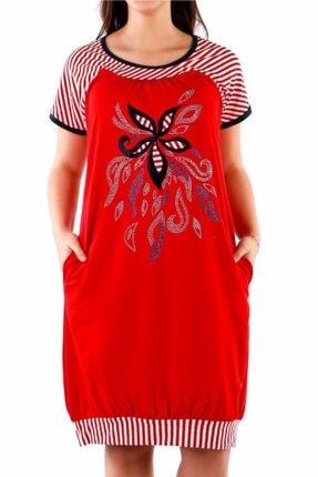Nicoletta Kırmızı Kadın Tunik Gecelik Kısa Kollu Pamuk