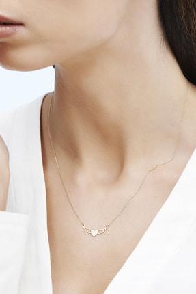 Altınbaş Kadın Sarı Altın Kalpli Kanat Kolye KLMK7145-24754