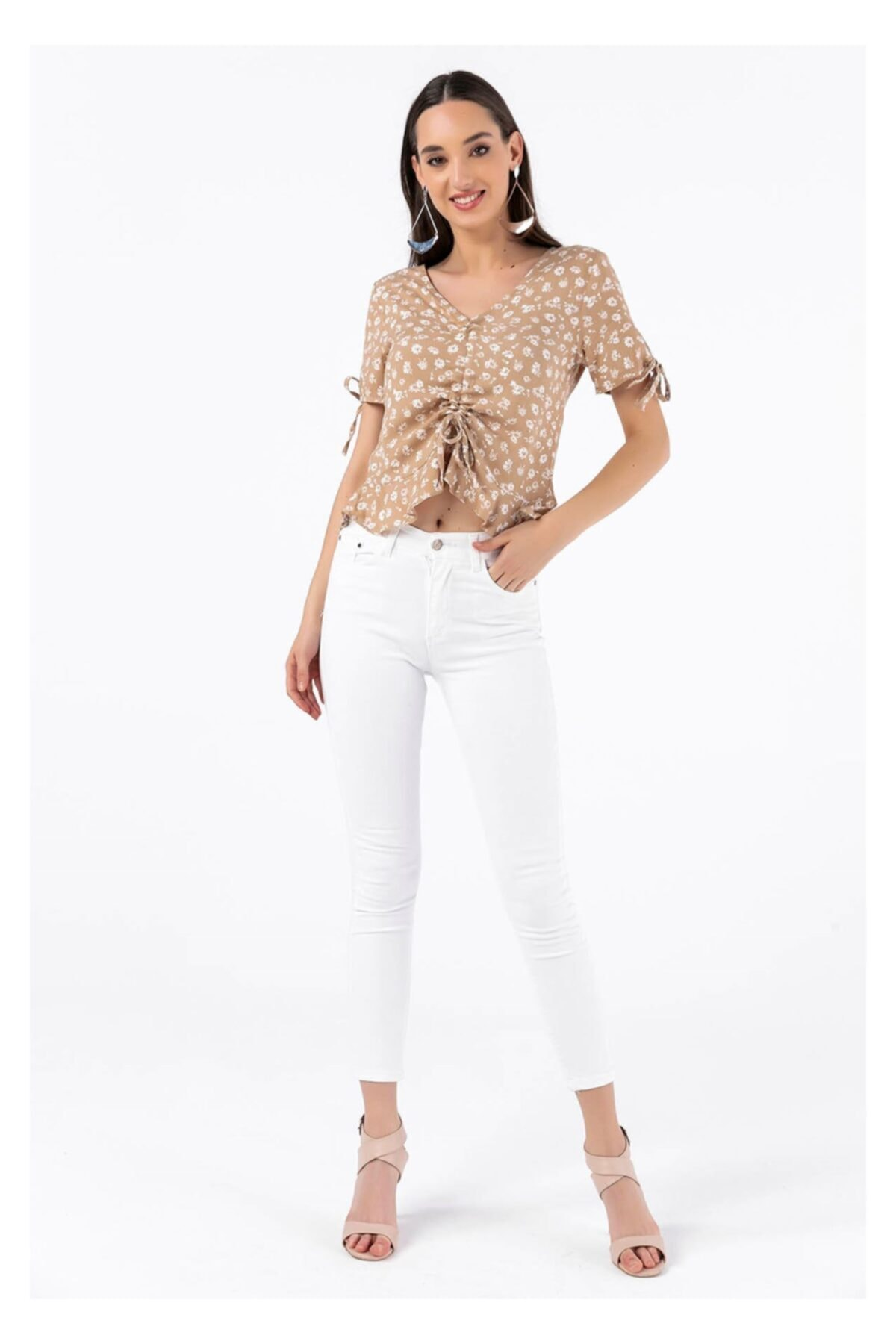TIFFANY&TOMATO Yüksek Bel Skinny Jean Pantolon - Beyaz 2