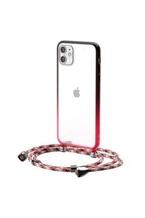 Baseus Element Crossbody Protective Iphone 11 6.1 Askılı Koruyucu Silikon Kılıf Kırmızı Uyumlu
