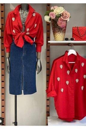 Afiş Butik Taş Işlemeli Kırmızı Gömlek