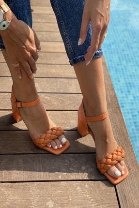 İnan Ayakkabı Kadın  Küt Burun Örgü Tek Bant Topuklu Ayakkabı