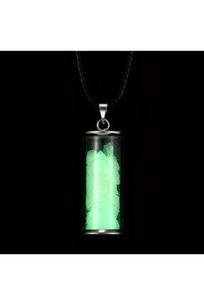 Doğadan Fosforlu Kapsül Kolye Yeşil Fosfor Parlaması Kolye
