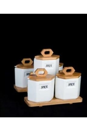 ACAR Bambu Standlı 5 Parça Porselen Baharatlık