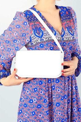 G&E BAGS Kadın Beyaz Kapaklı Baget Çanta