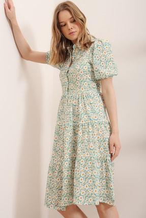 Trend Alaçatı Stili Kadın Mint Balon Kol Volanlı Gömlek Elbise ALC-X6031