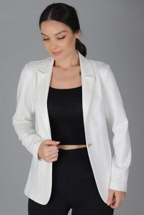 Sweetness Kadın Beyaz Tek Düğmeli Ceket
