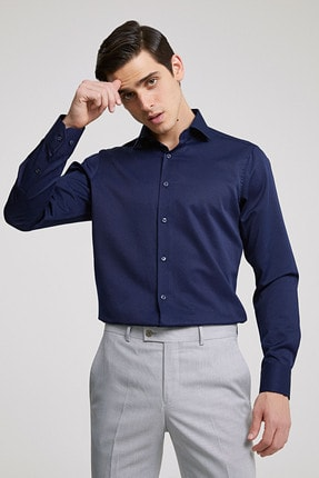 D'S Damat Erkek Gömlek Lacivert Renk Slim Fit