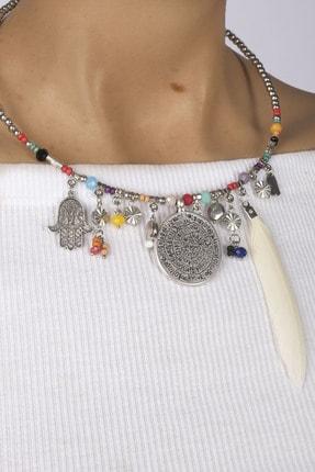 Marjin Kadın Gümüş Renkli Otantik Tasarım Boncuk Kolyegümüş