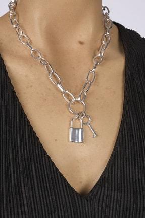 Marjin Kadın Gümüş Renkli Anahtar Ve Kilit Figürlü Zincir Kolyegümüş