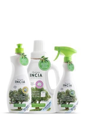 Incia Doğal Çok Amaçlı Temizleyici 500 ml Bulaşık Sabunu 500 ml ve Çamaşır Makinesi Sabunu