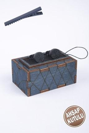 BAYEFENDİ Ahşap Kutulu Gümüş Rengi Siyah Metal Işlemeli Kol Düğmesi Nkka48