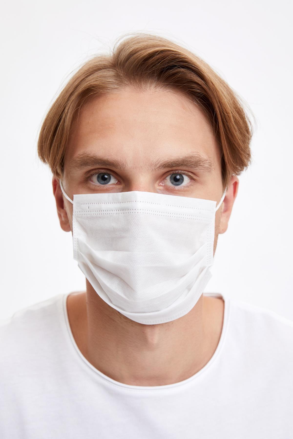 DeFacto Erkek Beyaz 3 Katlı Telli Beyaz Maske 5 Adet S2698AZ20WN