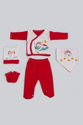 Pattaya Kids Bebek Ayıcık Baskılı 5'li Zıbın Seti 0-3 Ay Pb21s505-1173