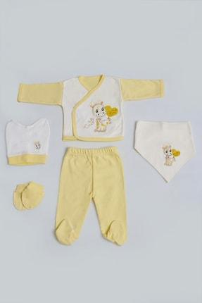 Pattaya Kids Kız Bebek Zürafa Nakışlı 5'li Zıbın Seti 0-3 Ay Pb21s505-1168