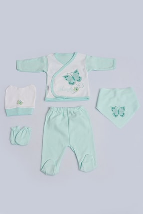 Pattaya Kids Kız Bebek Kelebekli 5li Zıbın Seti 0-3 Ay Pb21s505-1170
