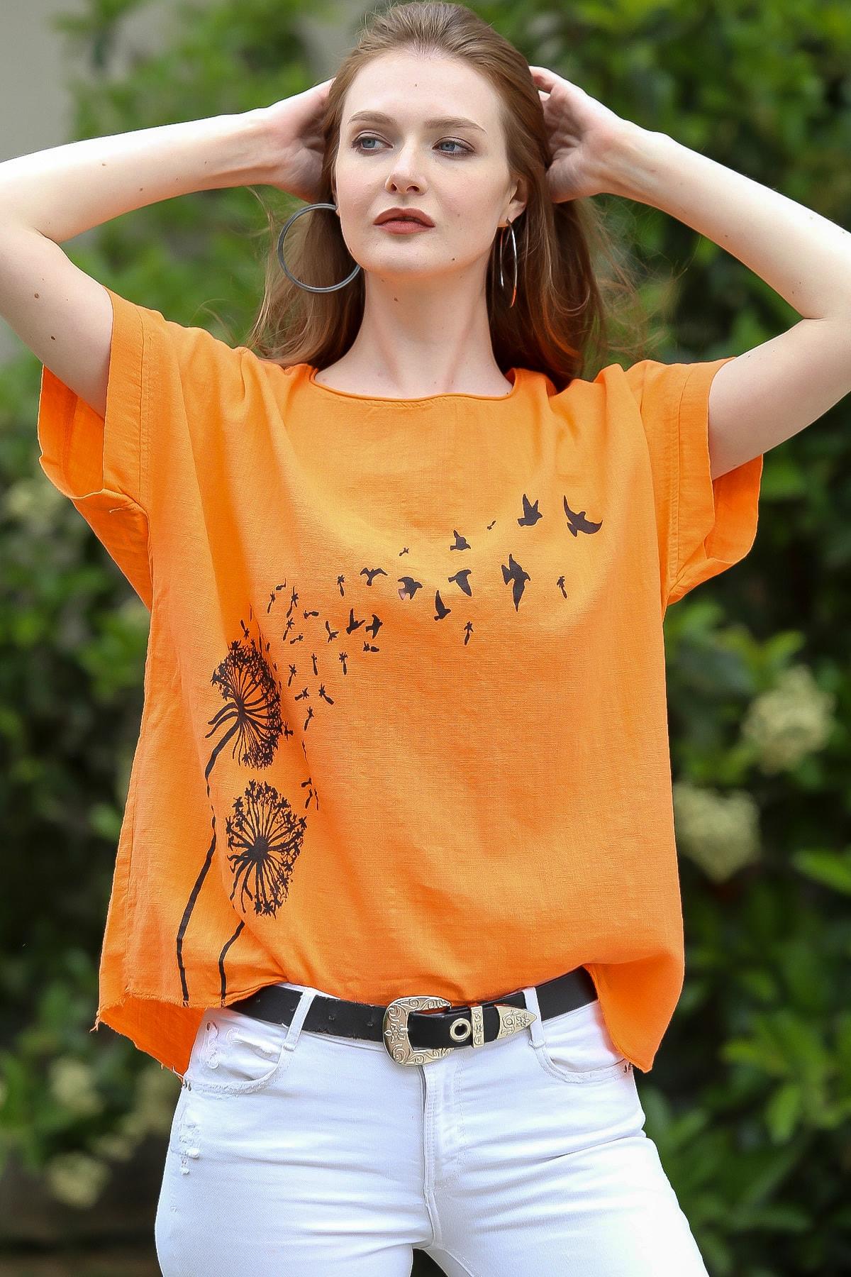 Chiccy Kadın Turuncu Karahindiba Çiçeği Baskılı Salaş Dokuma Bluz C10010200BL95225
