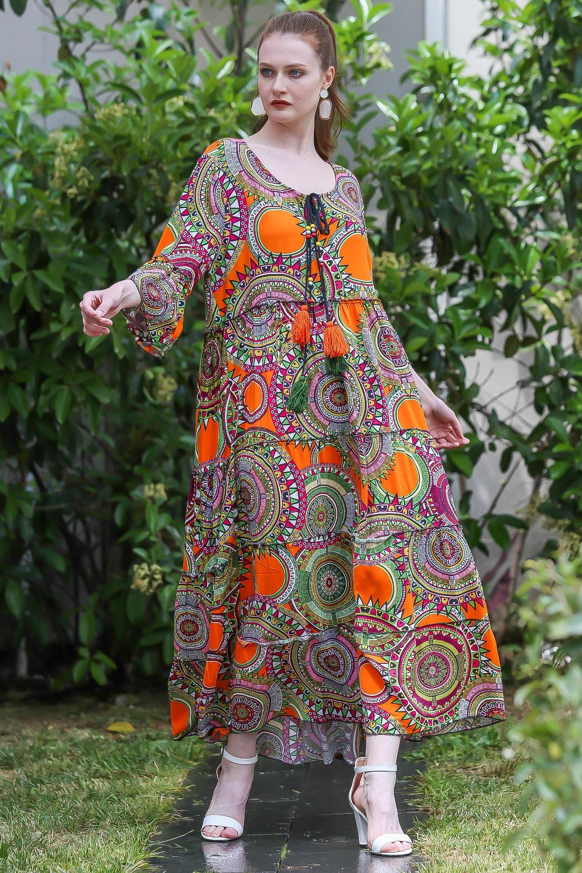 Chiccy Kadın Turuncu Geometrik Desenli Bağcıklı Kolları Volanlı Salaş Dokuma Uzun Elbise M10160000EL94882