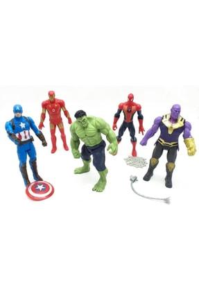 AVENGERS 5'li Figür Oyuncak Thanos Örümcek Adam Ironman Hulk Kaptan Amerika 12 Cm
