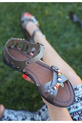 ESPARDİLE Kadın Platin Cilt Sandalet