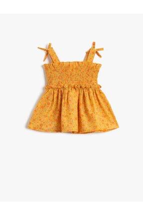 Koton Kids Kız Bebek HARDAL DESENLİ Çiçekli Bluz