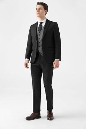 D'S Damat Erkek Siyah Slim Fit Armürlü Kombinli Takım Elbise