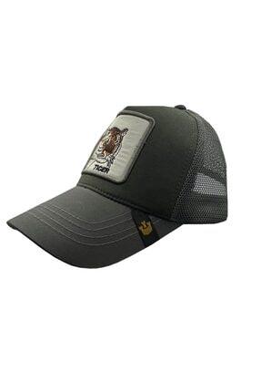 HNV Collection Gri Hayvan Figürlü Unisex Ayarlanabilir Kaplan Spor Cap Şapka