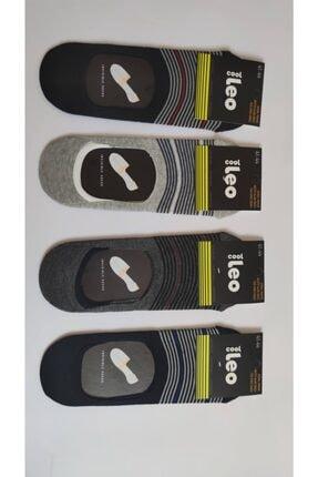 LEO Erkek Patik Çorap 4 Lü Siyah-gri Renk Çizgili