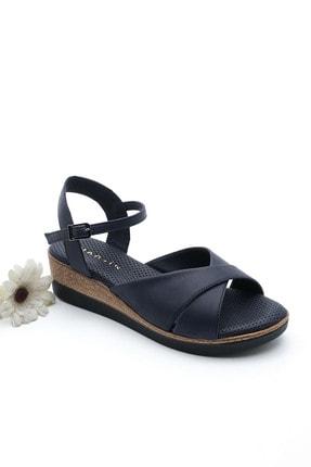 Marjin Kadın Hakiki Deri Dolgu Topuk Sandalet Arastolacivert