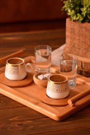 Bambum Ottoman - 2 Kişilik Kahve Takımı Altın Desenli B0239