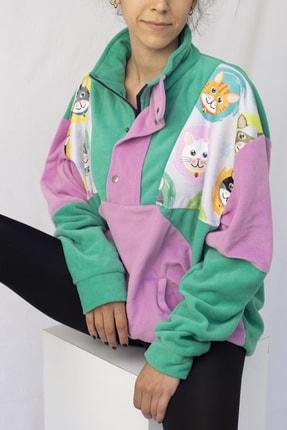 Vatkalimon Unisex Yeşil Lila Yarım Fermuarlı Polar Sweatshirt