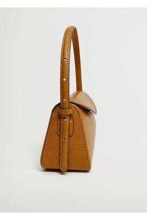 MANGO Woman Kadın Kahverengi Kapaklı Baguette Çanta