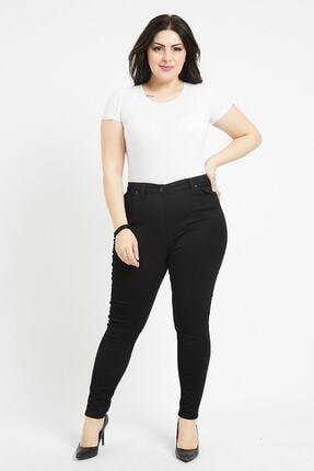 KaSheHa Kadın Siyah Büyük Beden Full Likralı Yüksek Bel Gabardin Pantolon