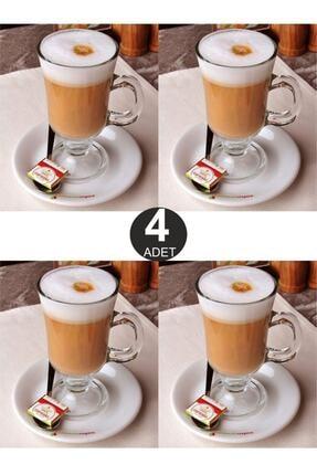 Paşabahçe 4'lü Kulplu Cam Latte Cappuccino Macchiato Nescafe Meşrubat Bardağı Irish Coffee Kupası