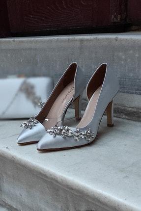 LA CALZATURE Gümüş Saten 9cm Şeffaf Su Yolu Topuklu Stiletto Kadın Ayakkabı