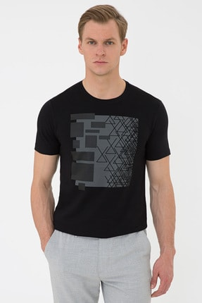 Pierre Cardin Siyah Slim Fit Bisiklet Yaka T-Shirt
