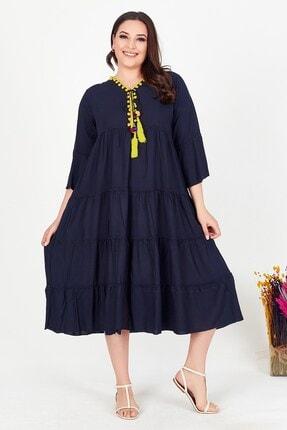Womenice Kadın Lacivert Yakası Püsküllü Büyük Beden Elbise