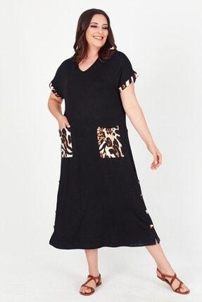 Womenice Kadın Siyah Yakası Cebi Leopar Desenli Büyük Beden Elbise