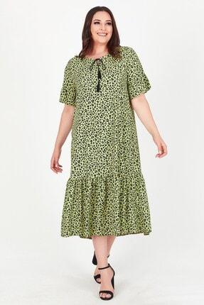 Womenice Kadın Yeşil Yakası Bağlamalı Leopar Desenli Büyük Beden Elbise
