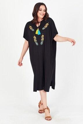 Womenice Kadın Siyah Tüy Nakışlı Önü Bağlamalı Büyük Beden Elbise