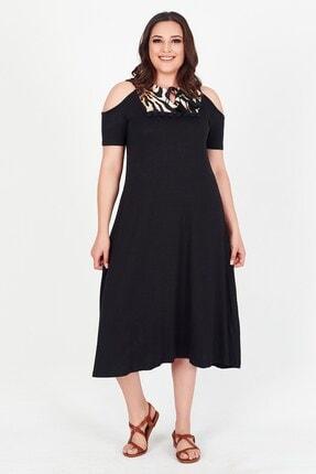 Womenice Kadın Siyah Yakası Leoparlı Püsküllü Büyük Beden Elbise