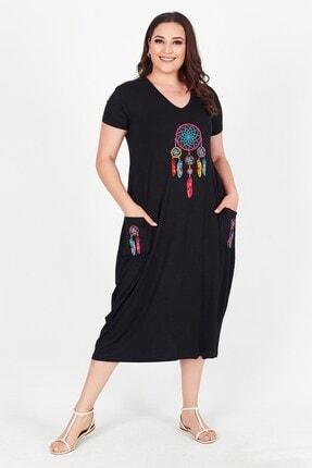 Womenice Kadın Siyah V Yaka Önü Cebi Baskılı Büyük Beden Elbise